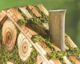 Moss-Edged Birdhouse Rustic Cordwood Style Cottage