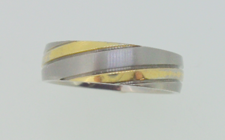 Titanium Ring brushed, gold color accent