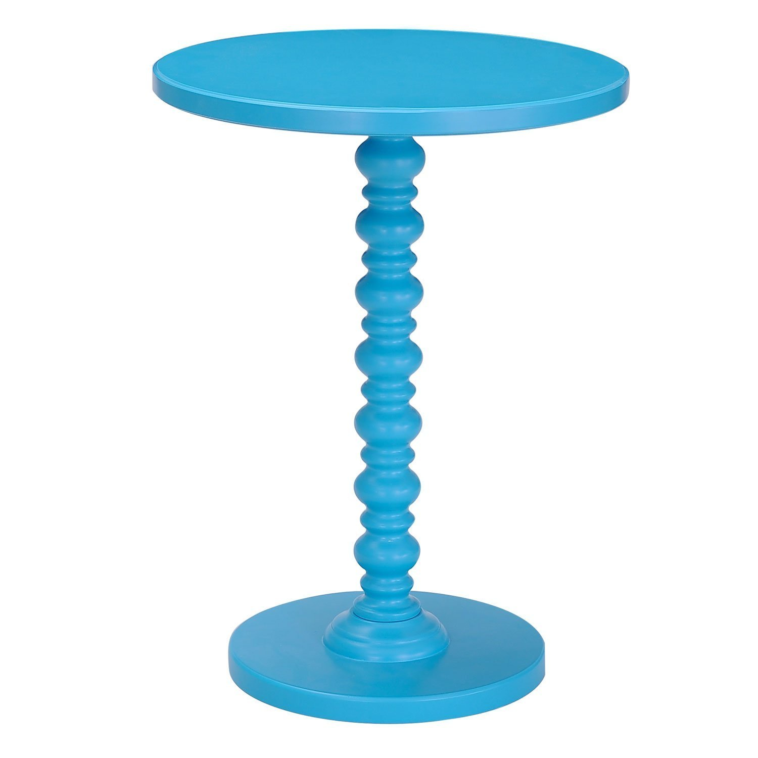 Adeco round wood spindle decorative end side table sky