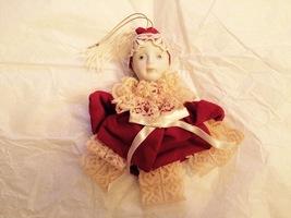 Vintage 1985 Porcelain & Velvet Marionette Holi... - $24.00