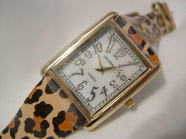 "L34, Waltham Ladies mop Large Faced Watch, 8.5"" Animal Print Band  w/b - $29.79"
