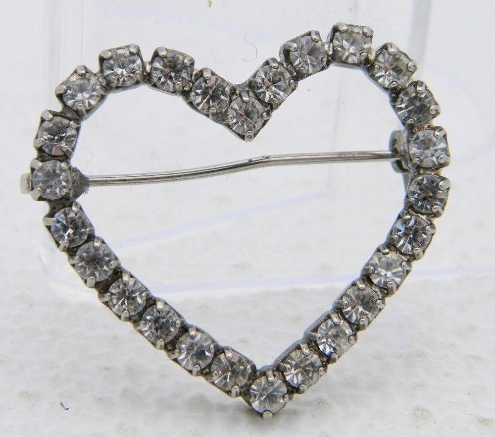 VTG Silver Tone Clear Rhinestone Heart Pin Brooch