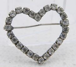VTG Silver Tone Clear Rhinestone Heart Pin Brooch image 1