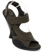 PRADA Sandal Military Green Black Rubber Fabric Leather Heel Open Toe Sz... - $364.33