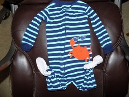Carter's Simple Joy Blue Striped Crab Sleeper Size 6/9 Months Boy's EUC - $14.94