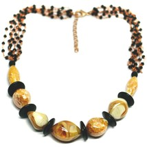 """ROSE NECKLACE BLACK, ORANGE SPOTTED DROP OVAL MURANO GLASS 45cm 18"""" ITALY MADE image 1"""