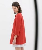 Zara Lightweight Spring Coat Jacket Bracelet Sleeve Button Front Size Me... - $49.00