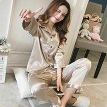 Womens Silk Satin Pajamas Pyjamas Set Long Sleeve Sleepwear Pajamas Wome... - $32.60