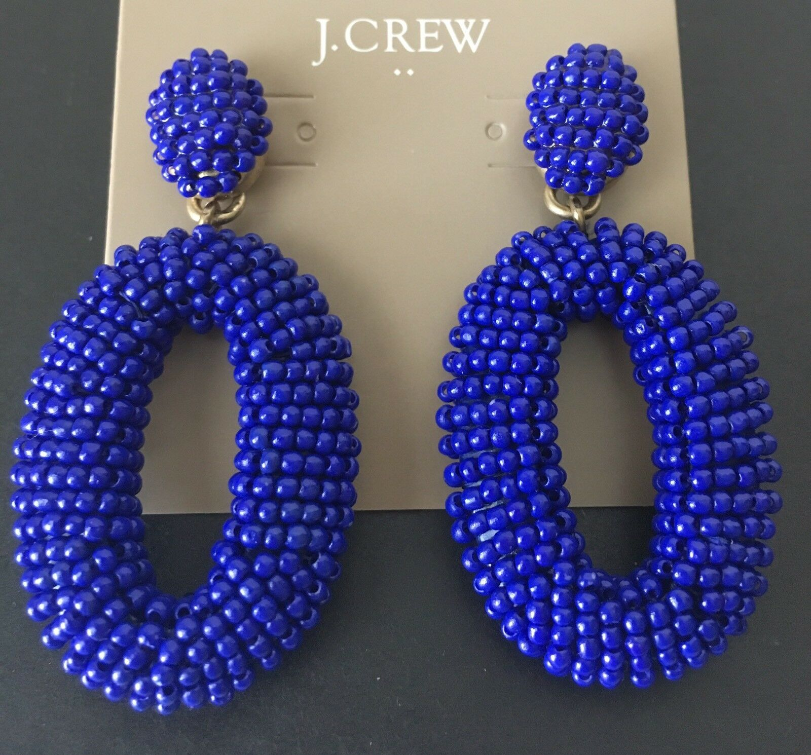 Primary image for NWT J Crew Beaded oval dangle statement earrings In Cobalt
