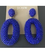 NWT J Crew Beaded oval dangle statement earrings In Cobalt - £25.51 GBP