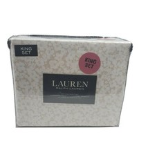 Lauren Ralph Lauren 4 PC KING Floral White Hibiscus Tan Backing Sheet Se... - $129.95