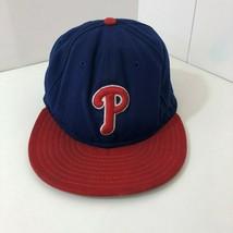 NEW ERA 59FIFTY PHILLIES Flat Visor Blue Red Fitted Baseball Cap Hat Siz... - $12.16