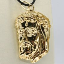 18K YELLOW GOLD JESUS FACE PENDANT CHARM 37 MM, 1.5 IN, FINELY WORKED ITALY MADE image 3