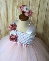 Blush and White Flower Girl Dress, Blush Tutu, Blush Tulle Dress - $50.00+