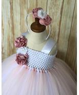 Blush and White Flower Girl Dress, Blush Tutu, Blush Tulle Dress - $50.00 - $75.00