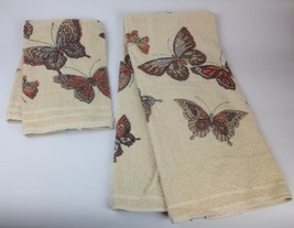 VTG 2pc Set Hand Bathroom Towel Cannon Butterfly Hippie Boho Retro 70s N... - $18.81
