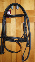 Bobby's Tack COB Sz BLACK Padded Flash Bridle w/ Rubber/Web Reins - $139.00