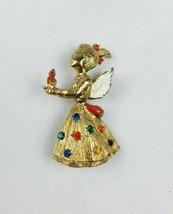 Vintage angel girl pin brooch wings rhinestones candle figurine - $23.96