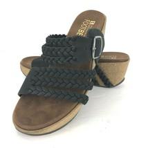 White Mountain Chantilly 5 M Black Leather Braided Wedge Platform Sandal Open   - $59.39