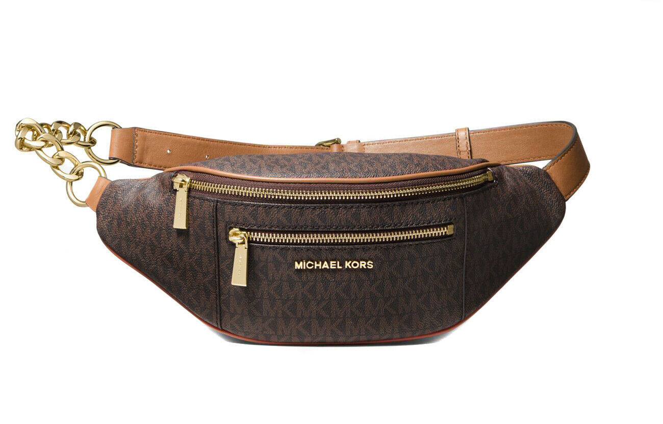 Michael Kors Women's Mott Medium Logo Adjustable Leather Waistpack Belt Bag