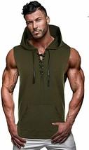 Mens Slim Fit Sleeveless Hooded - Lightweight Workout Sleeveless Hooded ... - $43.22