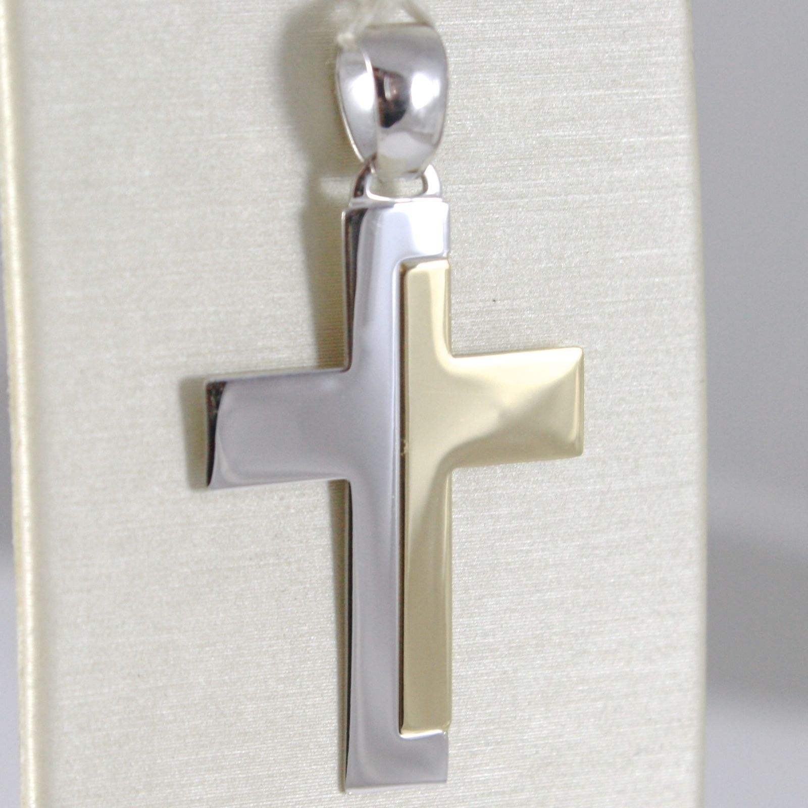 CROSS PENDANT YELLOW GOLD WHITE 750 18K, SQUARED, ALTERNATING, SOLID, ITALY