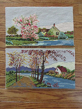 """Completed Set of 2 Spring & Fall Lake Country Scenes Cross Stitch 12""""x 7"""" - $44.43"""