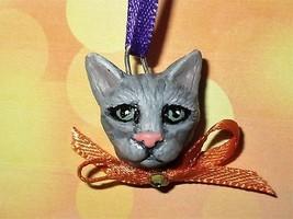 GREY TABBY CAT CHARM Ooak Halloween Mini Tree Ornament black pet holiday... - €5,05 EUR