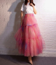 Rainbow Color Long Tulle Skirt Tiered Tutu Skirt Outfit Plus Size Layered Skirt  image 4
