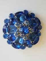 Vintage Blue Rhinestone Brooch, Domed Brooch, Silver Tone Metal, Vintage... - $35.00