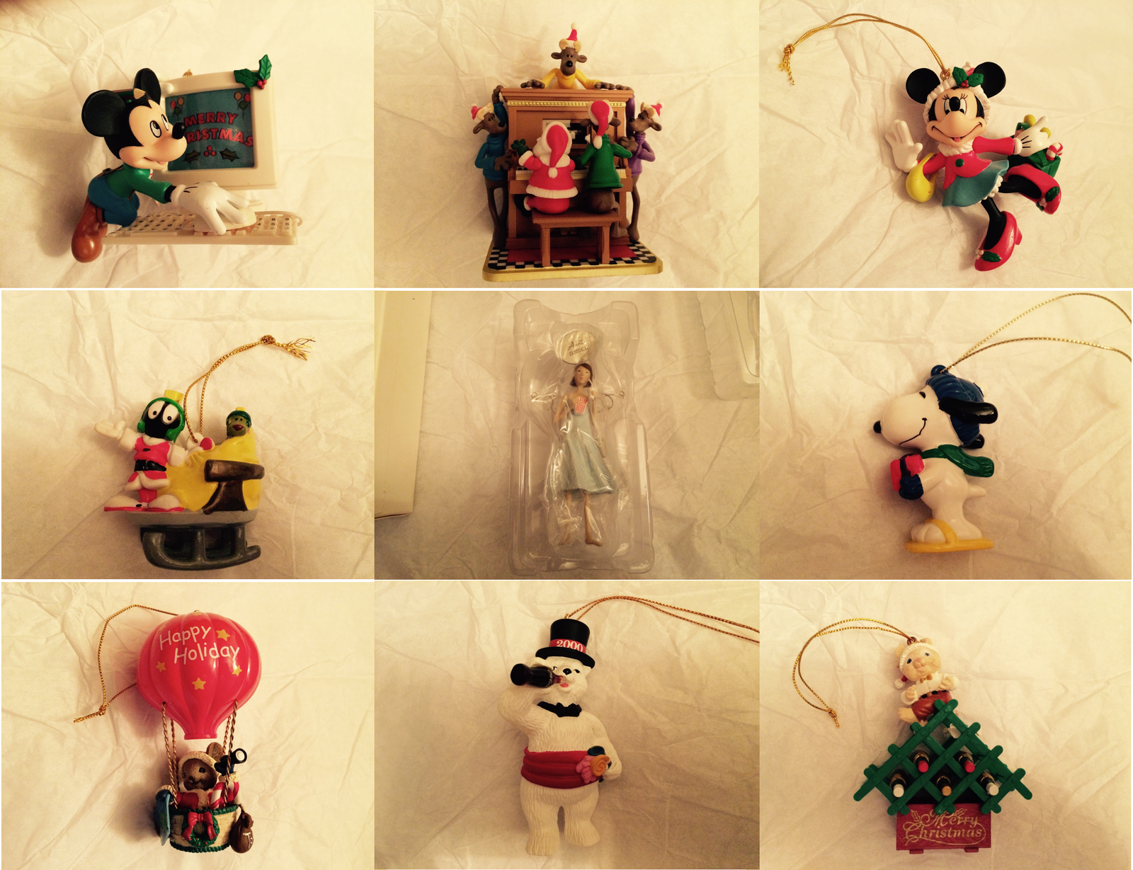 50% OFF - Lot of 9 RETIRED HALLMARK Ornaments 1995 - 2005