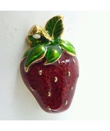 STUNNING VINTAGE ESTATE GOLD TONE GREEN RED ENAMEL STRAWBERRY BROOCH! PIN!