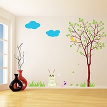 (35'' x 30'') Vinyl Wall Kids Decal Rabbit with Tree / Art Home Baby Bunny, B... - $36.10