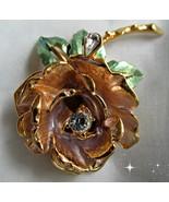 GRAZIANO Rhinestone Enamel Flower ENGLAND'S ROS... - $27.00