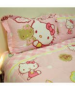 HELLO KITTY Biscuit PINK QUEEN SIZE DOUBLE BED SHEET SET 4PCS Cotton Bed... - $95.00