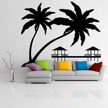 ( 87'' x 70'') Vinl Wall Decal Paradise Design with Palms & Bungalows / Sunse... - $140.64