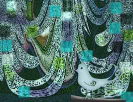 """Bird in Tapestry in Curves"" digital abstract, textured, unusual, nicely... - $40.00"