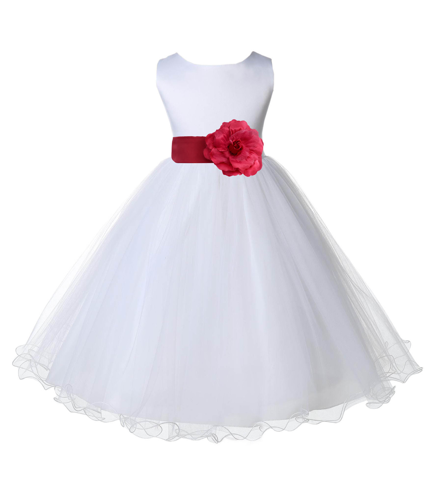 White Rattail edge Tulle Flower Girl dress pageant wedding easter party new 829T