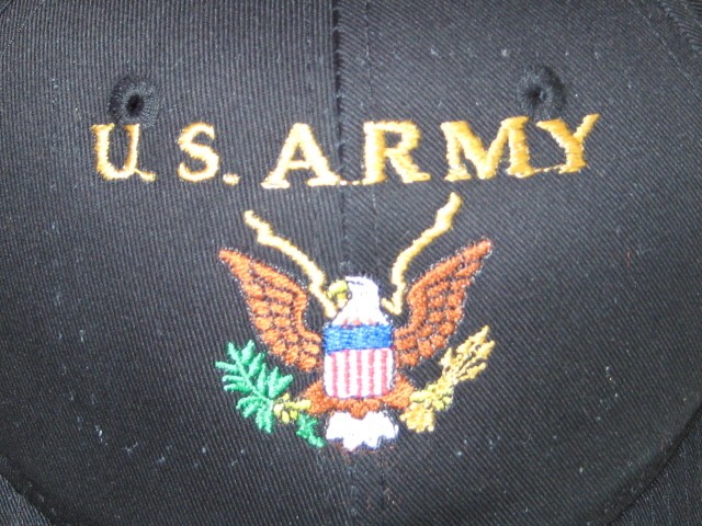 US Army Emblem Embroidered on Black Baseball Hat