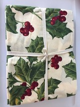 April Cornell Tablecloth Red Green Holly Berry Holiday Fr. Country NEW W... - $54.50