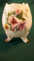 VINTAGE LEFTON CERAMIC EGG WITH FLOWERS, SCALLO... - $39.59