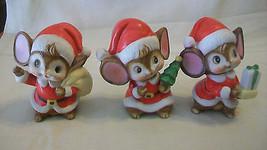 Vintage Set Of Three, Mice Dressed As Santa Figurines By Homco #5405 - $27.71