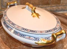 PL Limoges France M Redon Oval Casserole Tureen Blue Floral Porcelain Go... - $79.99