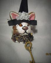 CAT WITCH PIN OOAK Halloween Brown White Whiskers orange eyes lapel hat key - £4.84 GBP