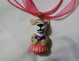 BOBCAT GIRL PENDANT necklace OOAK Polymer miniature ornament CHARM Leopaed - $6.90