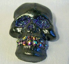 BLACK SPARKLE SKULL LAPEL PIN OOAK Halloween glitter rhinestones purple ... - $6.76