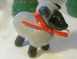 HOLIDAY EWE FIGURE Miniature ooak polymer clay Folk Art doll red bow Gre... - $4.16