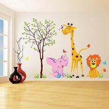 (94'' x 66'') Vinyl Wall Kids Decal Animals in Forest / Art Home Baby Giraffe... - $217.32