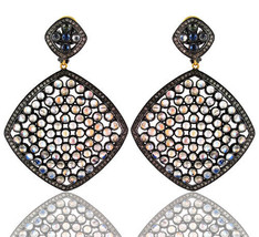 Moonstone 14 K Gold Pave 2.88ct Diamond Dangle Earrings 925 Silver Antiq... - $888.40