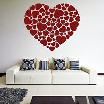 (63'' x 56'') Vinyl Wall Decal Hearts in a Heart Shape / Romantic Print Art D... - $99.71